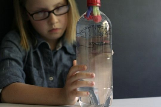 Homemade diving toy (science lesson)