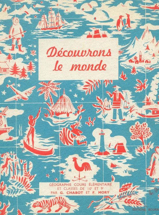 vintage french textbooks with great two-color illustrations