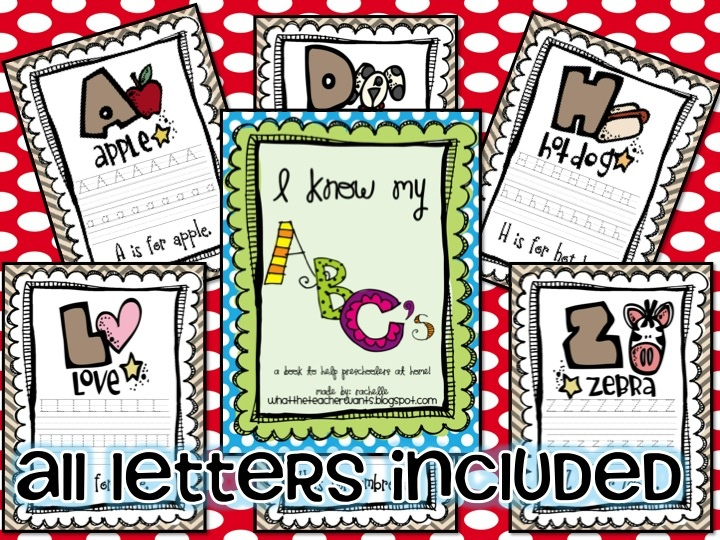 ABC book:  Just print it out, place it in page protectors, and use a dry-erase marker to practice!