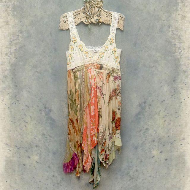Upcycled slip dress made from slip, hankies, scarves