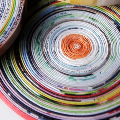 Coasters made from magazine pages!