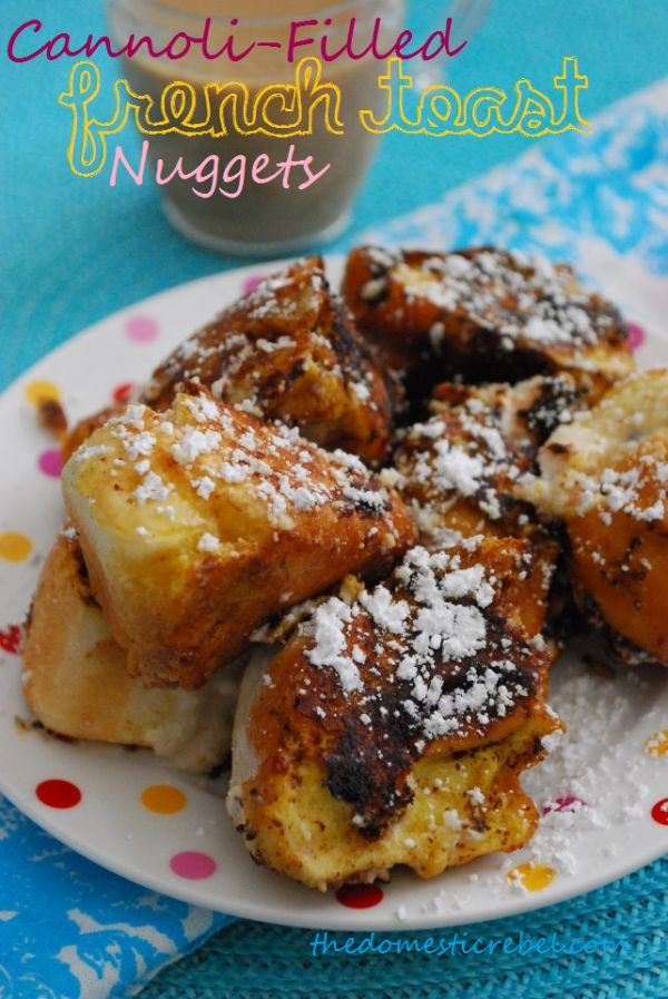 cannoli stuffed french toast nuggets made with hotdog buns so they ...