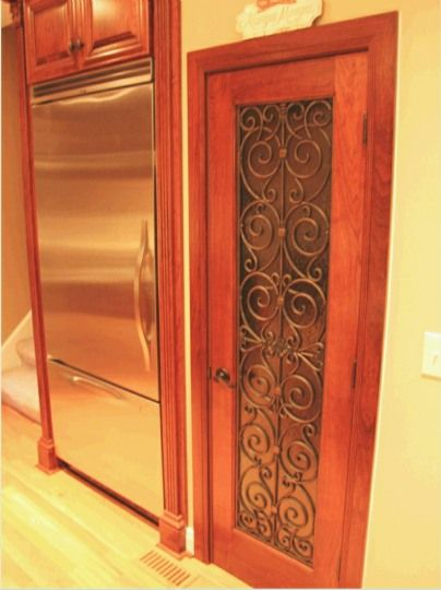 Pantry Doors with Frosted Glass Wrought Iron Motifs - Sans Soucie Art