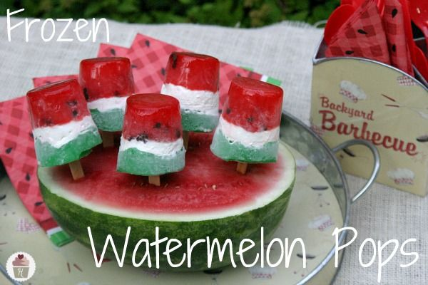 Frozen-Watermelon-Pops.HoosierHomemade.com Perfect for a summer BBQ!