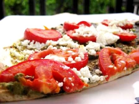 ... Grill-out: Grilled Pizza with Basil-Walnut Pesto, Tomatoes & Feta