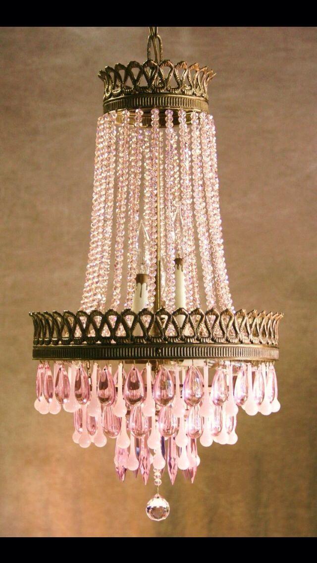 Vintage Pink Crystal Chandelier