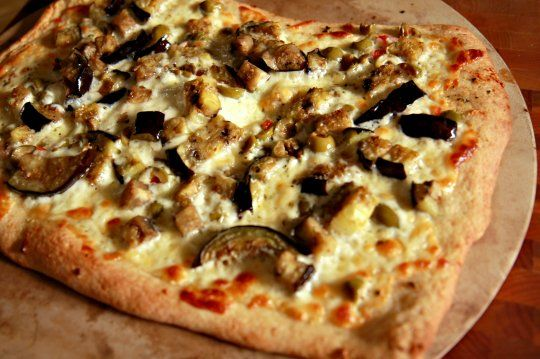 Eggplant, green olive and provolone pizza. What an appealing ...