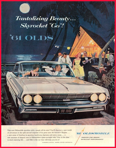1961 OLDSMOBILE '98 Original Vintage Print Ad - Retro Art - SKYROCKET ENGINE!