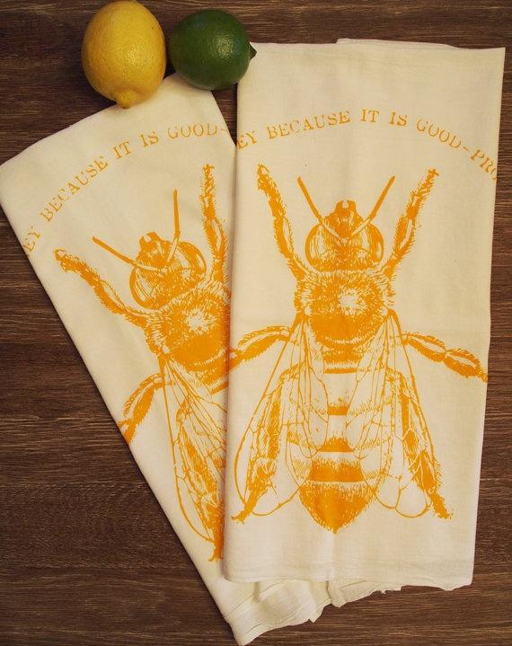 Set of 2  HONEY BEE  MultiPurpose Flour Sack Bar by ZenThreads, $13.00