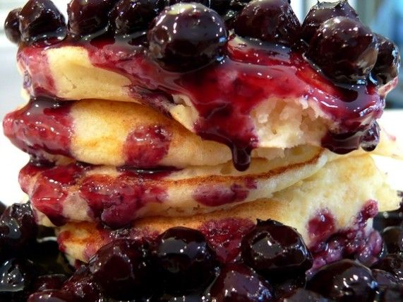 Lemon Ricotta Pancakes with Blueberry Sauce from NoblePig.com