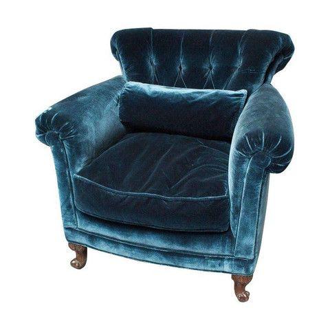 Peacock Blue Silk Velvet Club Chair by Chairish  Chairish