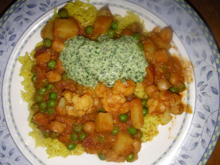 ... Potatoes, Cauliflower, Peas, and Chickpeas; Cilantro Chutney; Rice