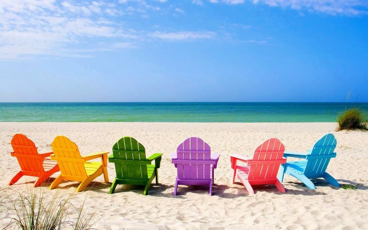 pick a color and have a seat :) rainbow on beach