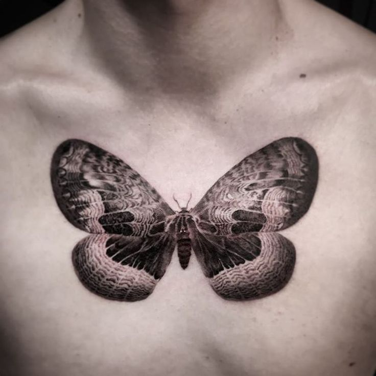 Butterfly tattoos on chest