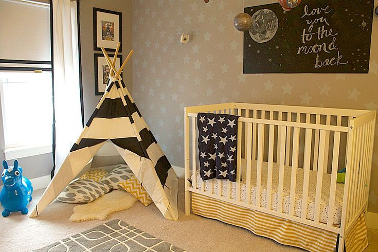 Whimsical, Transitional Nursery with Stenciled Star Accent Wall - #nursery #accentwall