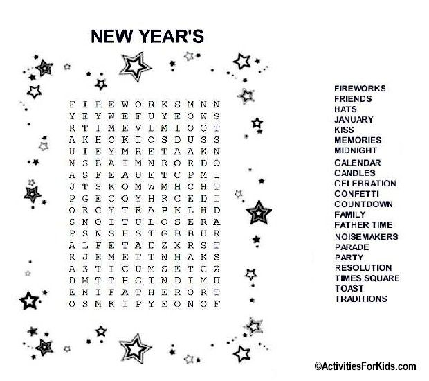 New+Year's+Word+Search+Puzzles New Year's Eve Word Search | winter ...