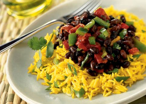 Yellow Rice Salad with Roasted Peppers and Spicy Black Beans | Recipe