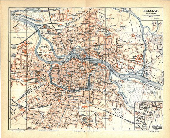 Breslau  Wroclaw  City Plan Vintage Map Poland 1923 to by carambas