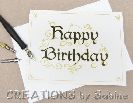 Happy birthday calligraphy greeting card handwritten