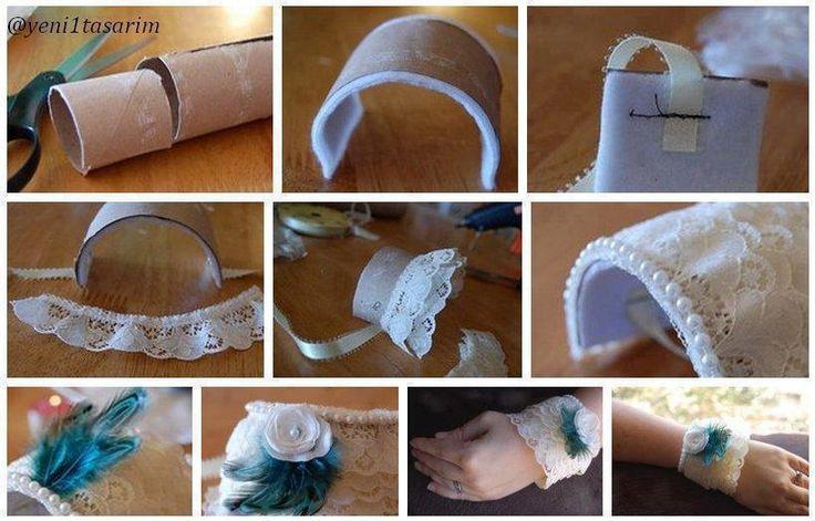 DIY Toilet Paper Roll Lace Bracelet