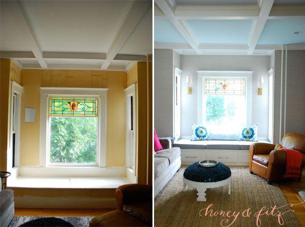 FAMILY ROOM WINDOW SEAT HONEY AND FITZ Vinyl grasscloth look wallpaper