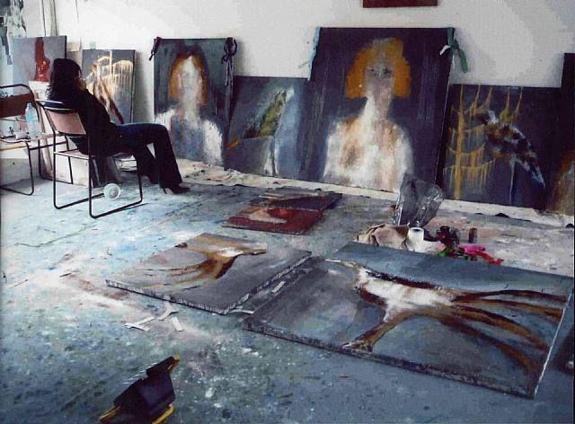 British artist Annie Morris in her studio