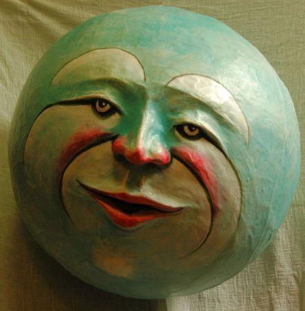 """Sculpture Gallery: Papier Mache Heads (""""Moons"""")"""