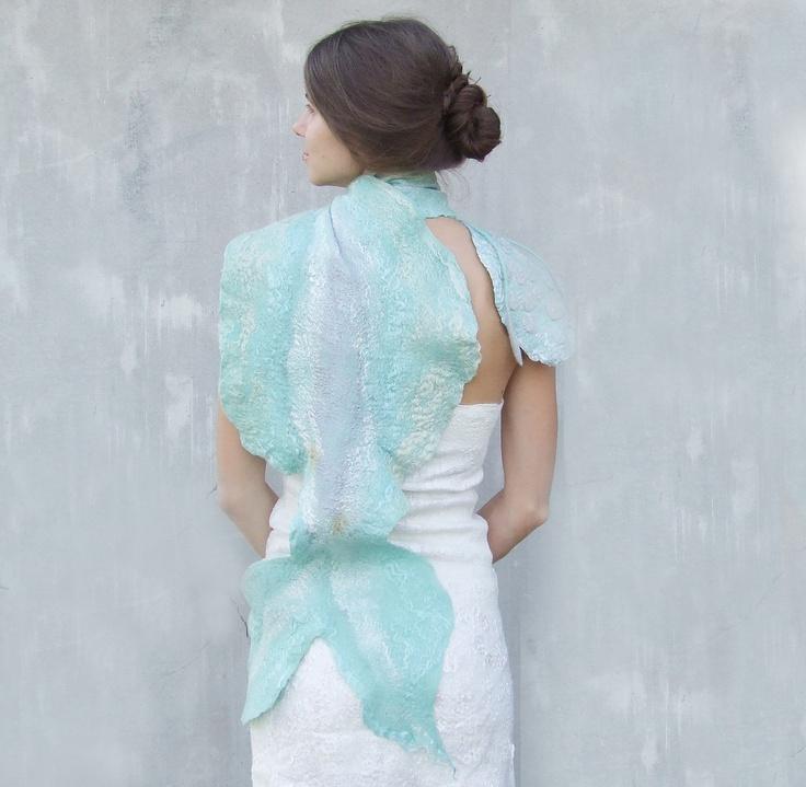 Mermaid tail scarf felted mint wool shawl aqua fall autumn fashion felting