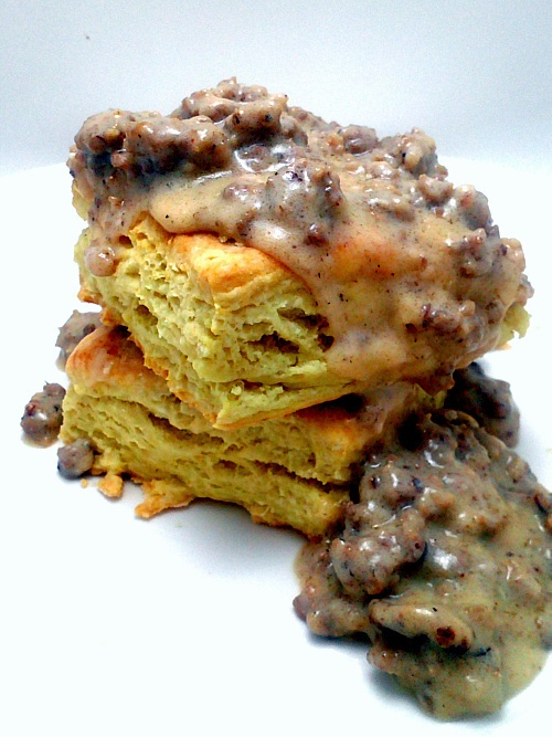 ... Breakfast ... Buttermilk Biscuits with Sausage Gravy ! Yummy