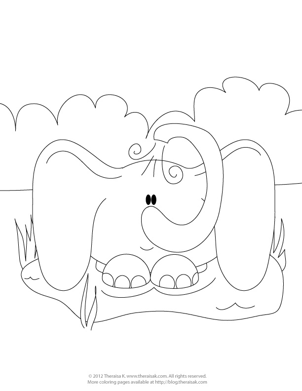 Cute elephant colouring pages picture to pin on pinterest for Cute elephant coloring pages