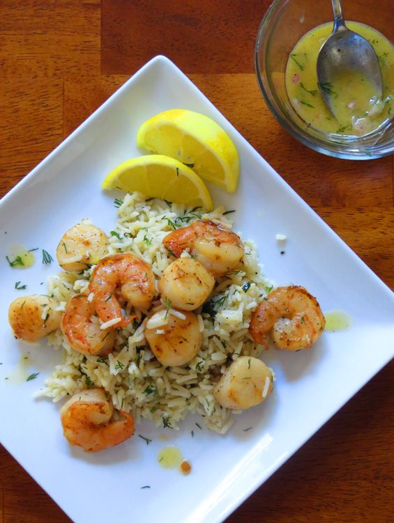 Scallops & Shrimp over Herbed Rice with Mustard Dill Vinaigrette