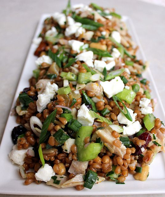 Trail Mix Wheat Berry Salad with Chicken, Goat Cheese and Orange ...