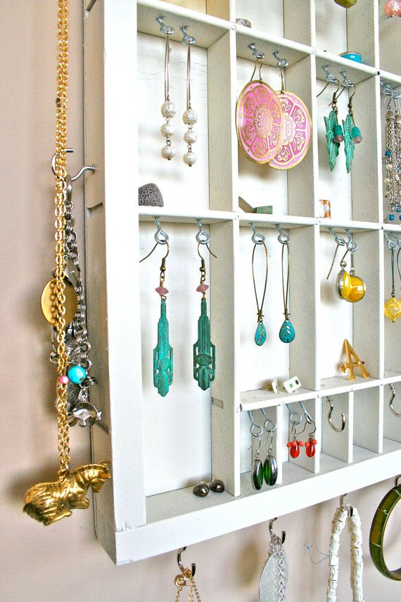 earring organiser from upcycled letterpress drawer