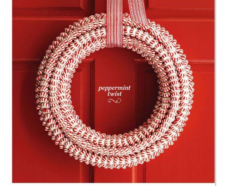 peppermint twist wreath | Holiday Ideas! | Pinterest