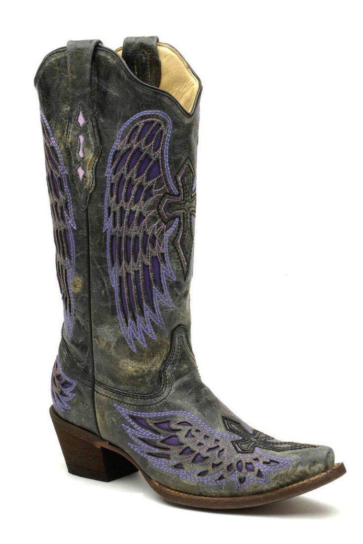 Elegant Women39s Ladies Purple Leather Sequins Cowboy Boots Western Riding