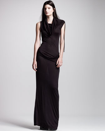 Ruched Cowl-Neck Long Dress by Ann Demeulemeester at Bergdorf Goodman.