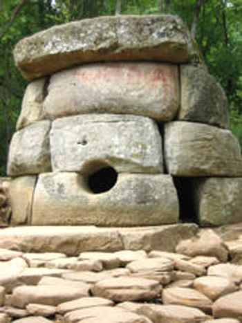 The burial ground found at the crossroads of Postovaia and Sedin Streets in Krasnodar is significant because it is a dolmen. This is defined as a single-chamber, megalithic tomb that usually consists of three or more upright stones that support a large, flat, horizontal capstone (table). Most dolmens date back to the early Neolithic period (4,000-3,000 BC).