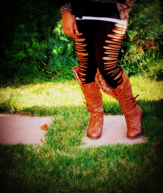 Plus Size Leggings Cut up Leggings Plus Size by 4TheWild on Etsy, $28.00