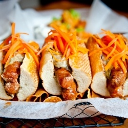 Merguez Dogs With Pickled Carrots And Cumin Aioli