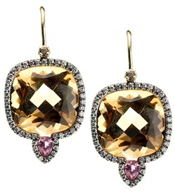 Jemma Wynne earrings with cushion cut, champagne quartz, bright pink sapphires and dazzling diamonds, all in 18K, both blackened and yellow.  (dia-.50ct, sapp-.25ct)