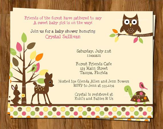 Forest Animals Baby Shower Invitations, Woodland Tree-Top Friends Baby