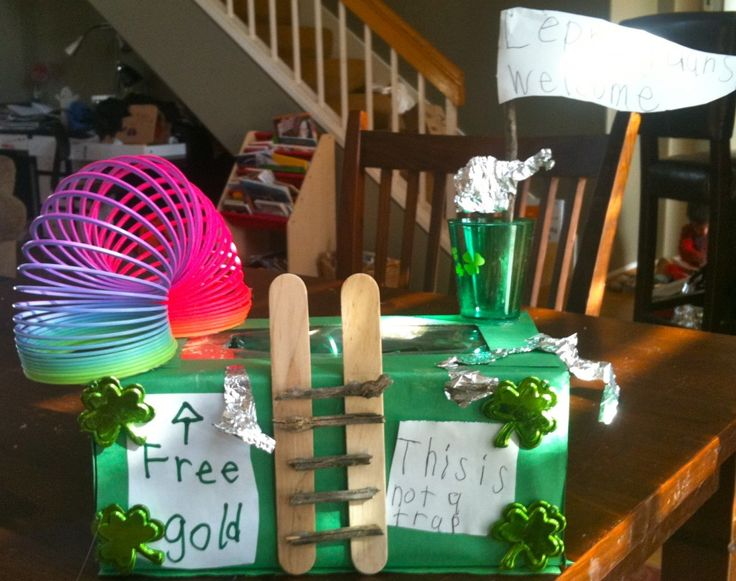 My kid and I actually did this one. A leprechaun trap!