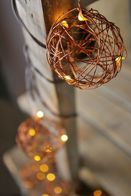 Copper Patio String Lights : Copper Wire Ball LED Patio Lights, Battery Operated, 7 Ft Brown Wire,?