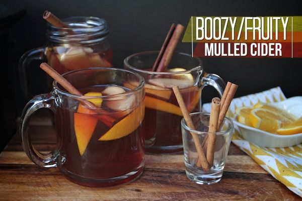 Boozy Fruit Mulled Cider. Replace the alcohol with ginger ale to make ...