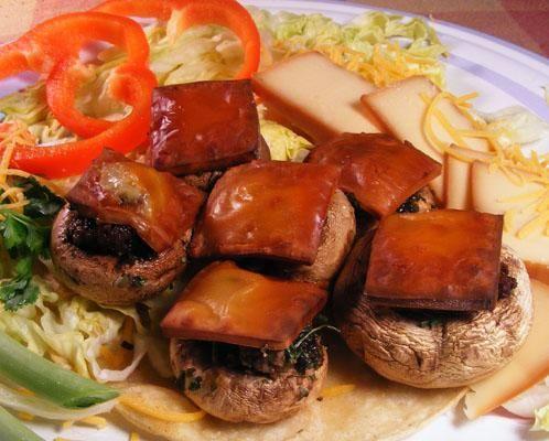 ... stuffed with taco seasoned ground beef, herbs, and smoked swiss