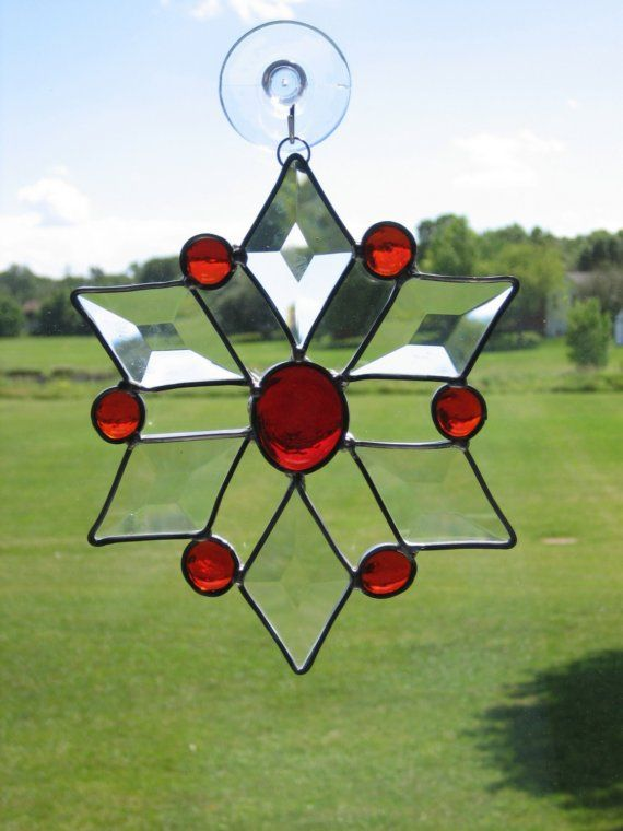 Beautiful Bevel and Glass Sunburst Red With Clear by GlassPizazz, $17.00