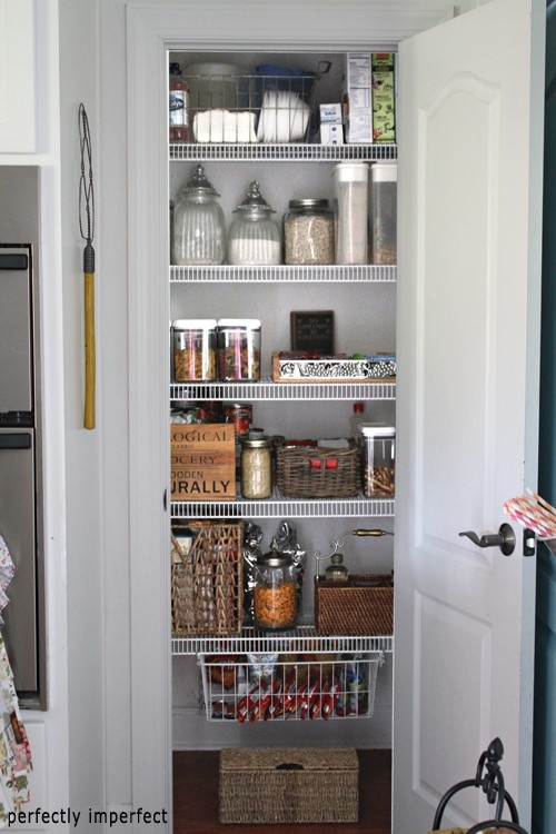 Organized pantry in my house pinterest for Small pantry closet ideas