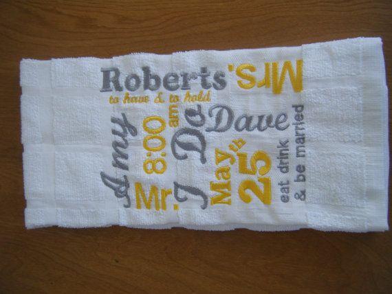 Personalized Wedding Gifts Kitchen : Personalized Kitchen Towel - Wedding Gift - Bridal Shower Gift - Wedd ...