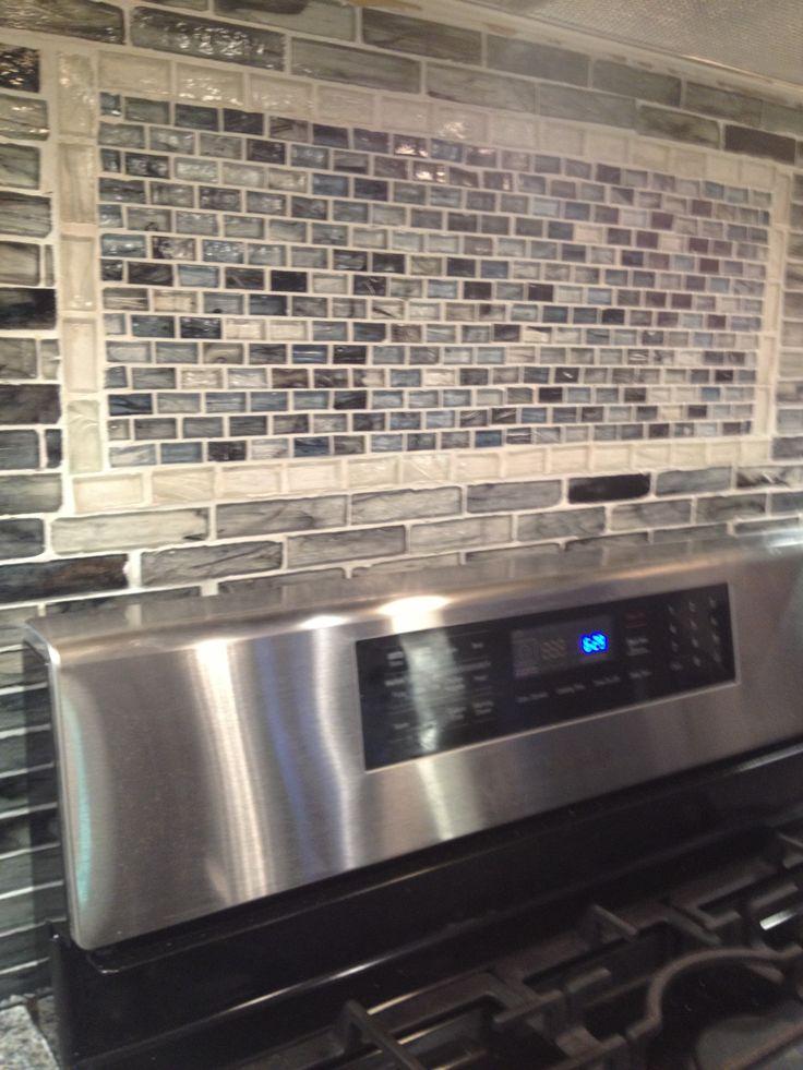 black and grey glass tile backsplash kitchen pinterest