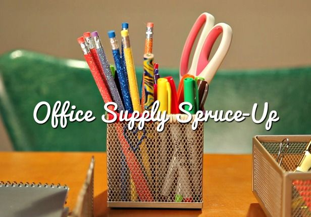 HGTV Crafternoon: DIY Office Supply Spruce-Up (http://blog.hgtv.com/design/2014/01/15/diy-office-supply-spruce-up/?soc=pinterest)